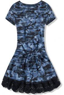 Modré army šaty s krajkou