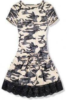 Béžové army šaty s krajkou