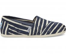 TOMS Dámské modro-bílé Slip-On Navy Painted Stripe Seasonal Classics Alpargatas 37