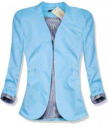 Světle modré sako s pruhovanou podšívkou