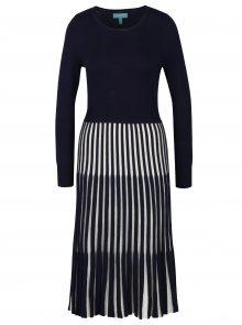 Tmavě modré šaty s pruhovanou sukní Fever London Lewes