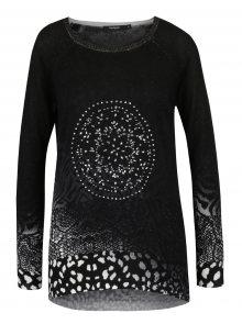 Černý lehký vzorovaný svetr s kamínky Desigual Pullover