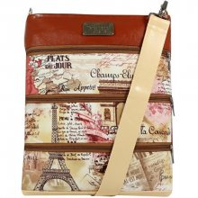 Dara bags Pařížská béžovohnědá crossbody kabelka Dariana Big no.6006 I love Paris
