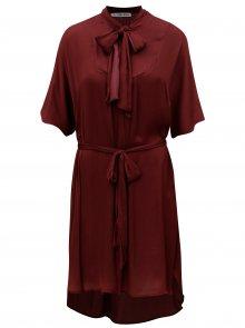 Vínové šaty se zavazováním u krku Alexandra Ghiorghie Monica