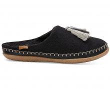 TOMS Dámské černé pantofle Blk Wool/Tassels Ivy 36,5