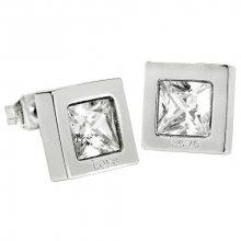Troli Čtvercové ocelové náušnice s krystalem KE-011