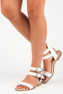 Ploché bílé sandály s přezkami