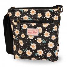 Candy Flowers Černá crossbody kabelka s květy a puntíky 4204S-357