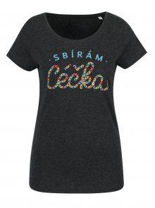 Tmavě šedé dámské tričko s potiskem ZOOT Original Céčka
