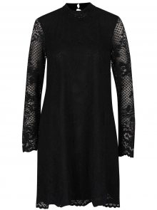 Černé krajkové šaty se stojáčkem VILA Loras