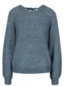 Modrý žíhaný vlněný svetr s příměsí mohéru Selected Femme Kaila