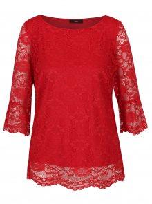 Červená krajková halenka s volánky na rukávech M&Co