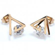 Troli Trojúhelníkové bronzové náušnice z oceli s krystaly KE-010