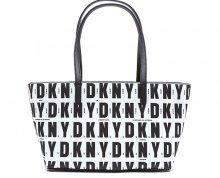 DKNY Elegantní černobílá kabelka Top Zip Shopper - SLEVA