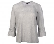 Vero Moda Dámské triko Jakuri 3/4 Cuff Frill Top D2-2 Light Grey Melange Melange XS