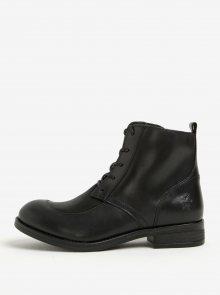 Černé dámské kožené kotníkové boty se šněrováním Fly London