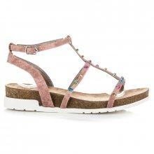 Pohodlné růžové sandály na klínku se cvoky