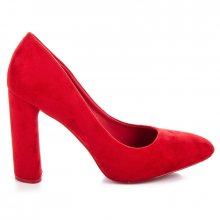 Klasické červené semišové lodičky na podpatku