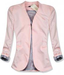 Pudrové sako s pruhovanou podšívkou