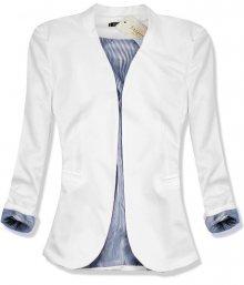 Bílé sako s pruhovanou podšívkou