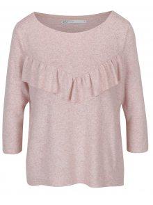 Světle růžový žíhaný volný svetr s volánem ONLY Maye