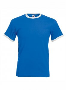 Tričko s barevnými lemy  - Modrá/Bílá S