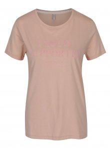 Starorůžové tričko s potiskem ONLY Sabina Proud