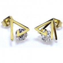 Troli Trojúhelníkové pozlacené náušnice z oceli s krystaly KE-010