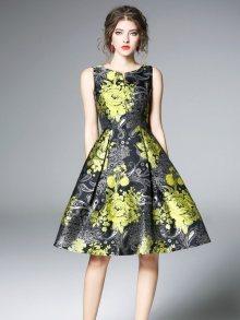 Ferraga Dámské šaty QE239 Gray & Green print