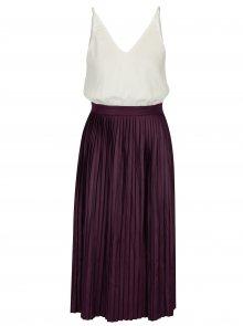 Krémovo-fialové šaty s plisovanou sukní AX Paris