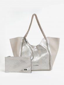 Béžový kožený shopper s metalickým hadím vzorem a pouzdrem 2v1 Liberty by Gionni Gilda