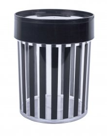 MISS ETOILE Canister Large BLACK STRIPES, BLACK LID LARGE