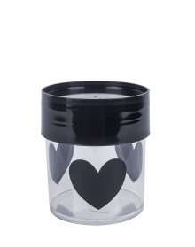 MISS ETOILE Canister Big BLACK HEARTS, BLACK LID SMALL