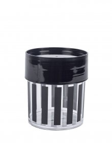 MISS ETOILE Canister Small BLACK STRIPES, BLACK LID
