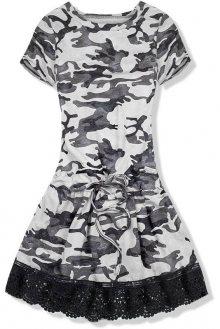 Šedé army šaty s krajkou