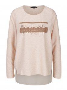 Světle růžové žíhané tričko s potiskem VERO MODA Sasha