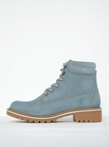 Světle modré kožené kotníkové boty Tamaris