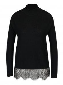 Černý lehký svetr s krajkovým dolním lemem Jacqueline de Yong Victory