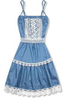 Světle modré jeans šaty s krajkou