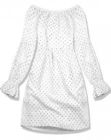 Bílé šaty s ažurovou výšivkou