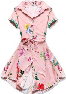 Pudrové květinové šaty na knoflíky