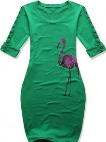 Zelené šaty s potiskem plameňáka