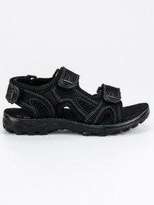 Pohodlné černé dětské kožené sandály