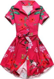 Růžové květinové šaty na knoflíky