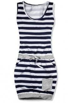 Modro-bílé šaty bez rukávů maxi pruhy