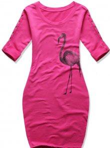 Růžové šaty s potiskem plameňáka