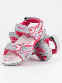 Textílní šedé dívčí sandály