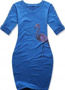 Kobaltově modré šaty s potiskem plameňáka
