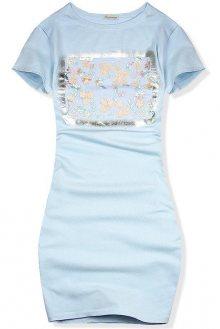 Baby blue šaty s květinovou dekorací