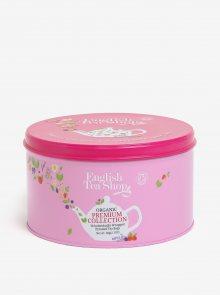 Růžová dárková plechovka prémiového čaje English Tea Shop